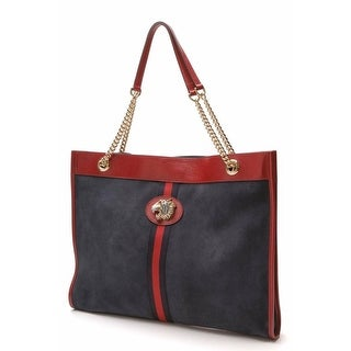 Link to Gucci Rajah Blue Suede Leather Large Web Stripe Tiger Head Chain Tote 553959 Similar Items in Designer Handbags