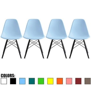 2xhome Set Of Four (4)- Eames Style Bedroom & Dining Room Side Ray Chair with Eiffel Dark Wood Dowel Dark Leg Base