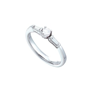 1/4Ctw Diamond Round Center Bridal Engagement Ring 14K White-Gold