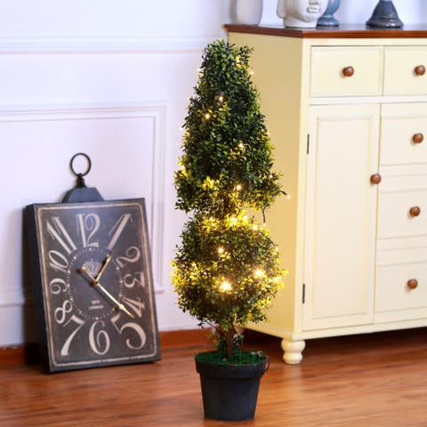 Pre-Lit Artificial Orchid Green Tree Topiary