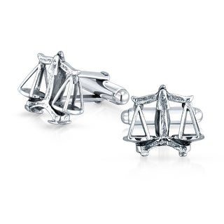 Bling Jewelry 925 Silver Judicial Judge Lawyer Scales of Justice Cufflinks