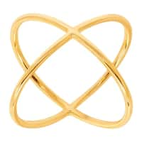 Just Gold Criss Cross 'X' Ring in 14K Gold - Yellow