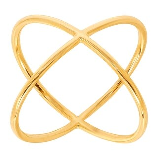 Just Gold Criss Cross 'X' Ring in 14K Gold - Yellow (2 options available)