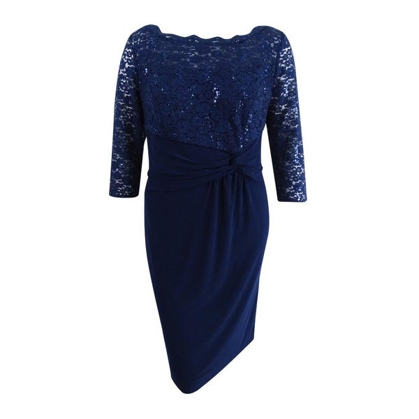 1a25feb0666 Shop Alex Evenings Women s Plus Size Sequined Lace   Ruched Dress - Navy - Free  Shipping Today - Overstock - 26280424