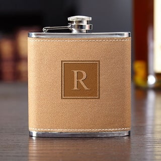 Cocoa Leather Block Monogram Hip Flask