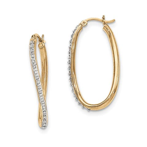 Curata Sterling Silver Gold-plated Diamond Accent Oval Twist Hinged Hoop Earrings (35x2mm)