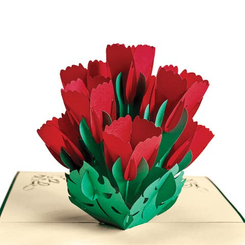 Wow Paper Art Tulips Bouquet Pop-Up Greeting Cards - Set of 4 Cards with Envelopes - Hand Made Sliceform Kirigami - Green
