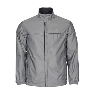 Greg Norman Full Zip Mock Neck Golf Windbreaker Jacket Grey Asphalt Small S