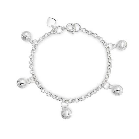 Dainty Dangling Jingle Bells Bracelet For Women Wrists 6 In 925 Sterling Silver Adjustable Bells Are Silver Plate