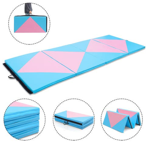 Gymax 4'x10'x2'' Gymnastics Mat Folding Portable Exercise Aerobics Fitness Gym Exercise