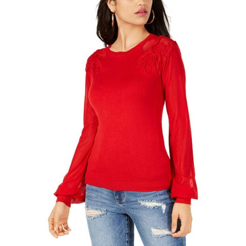 Sanctuary Womens Holly Pullover Sweater Soutache Mesh Inset - Scarlet Red - L