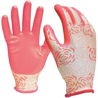 Digz 78351-26 Nitrile Garden Gloves, Small/Medium, Pink, 3/Pack