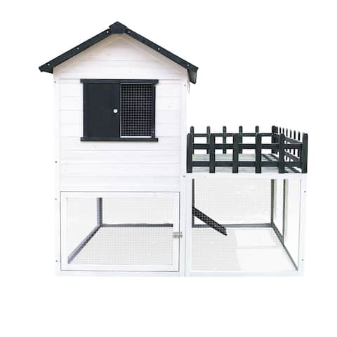 Hanover Elevated Wooden Chicken Coop 4.25 Ft. x 4 Ft. x 4.2 Ft.