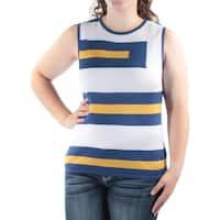 ANNE KLEIN Womens Blue Striped Sleeveless Jewel Neck Top  Size: XL