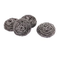 Unique Bargains Home Kitchen Bowl Dish Steel Wire Cleaning Tool Cleaner Balls Scourer 4pcs