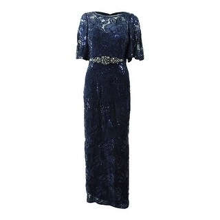 Adrianna Papell Women's Sequined Embroidered Gown - Midnight