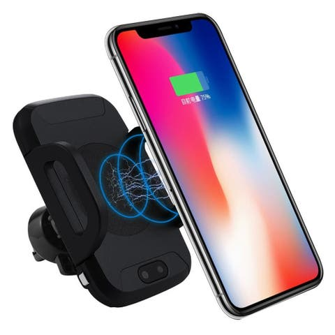 Indigi® Automatic Self Extending Qi Wireless Car Charger (Air Vent Mount) - IR Sensor detects device in front and expands arms