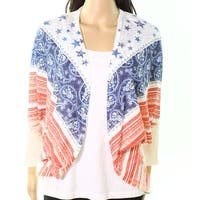 Moa Moa Cream Womens Small Mix-Print Cardigan Sweater