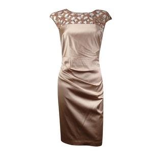 Kay Unger Women's Sequin Embellished Satin Sheath Dress - 4
