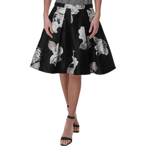 Sequin Hearts Womens Juniors A-Line Skirt Floral Print Pleated - Black/Silver