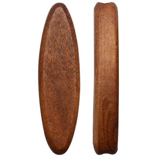 Smooth Wood Beads, Tapered Oval Slice 45x12mm, 4 Pieces, Light Brown