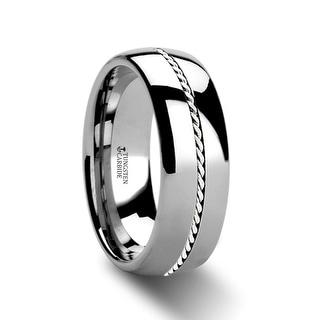 THORSTEN - BALDWYN Braided Palladium Inlay Domed Tungsten Ring