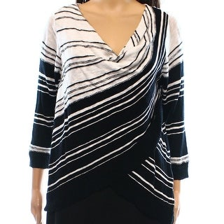INC NEW Black Cowl neck Women's Size Small S Striped Sweater Knit Top