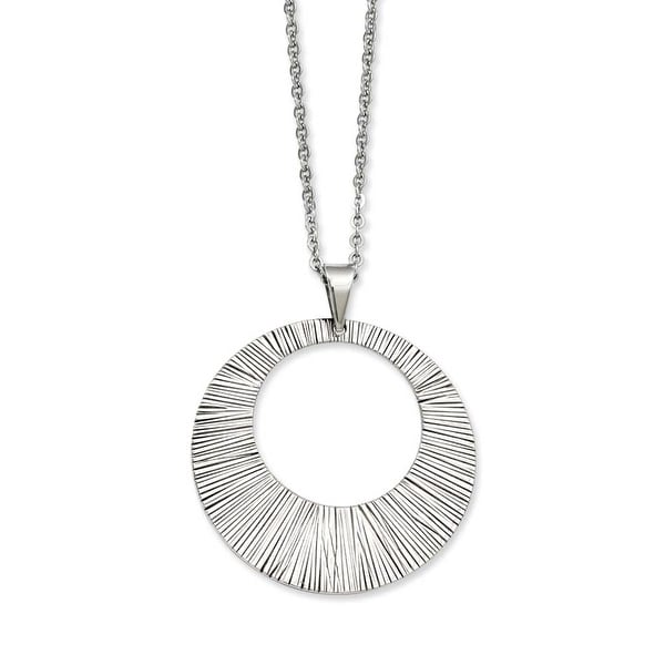 Stainless Steel Textured Pendant 24in Necklace (2 mm) - 24 in