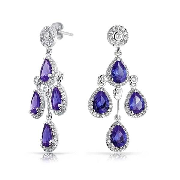 Bling Jewelry Purple Circlet Cz Teardrop Earrings Rhodium Plated