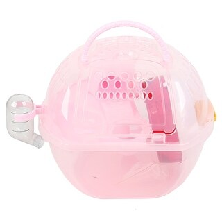 Pet Hamster Gerbil Exercise Cage Habitat House Pink Plastic w Four Accessories