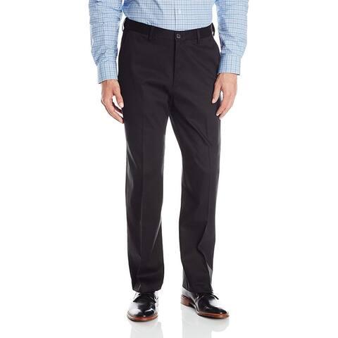 Haggar Men's Premium No Iron Classic Fit Expandable Waist, Black, Size 34W x 28L - 34W x 28L