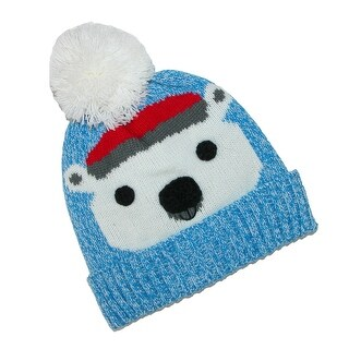CTM® Kids' Cuff Fleece Lined Hat with Animal Face and Pom - One size