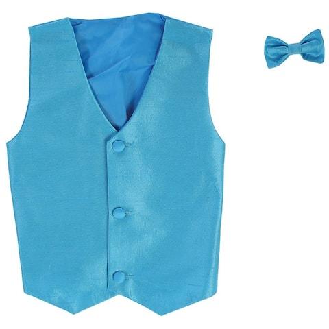 Baby Boys Aqua Poly Silk Vest Bowtie Special Occasion Set 3-24M