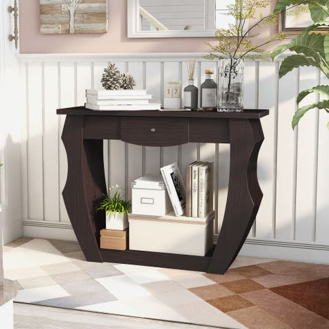 Furniture of America Caveline Modern Unique Cut-Out Console Table