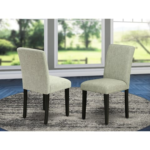 East West Furniture ABP1T06 Abbott Parson Chair with Black Leg and Linen Fabric Shitake, Set of 2