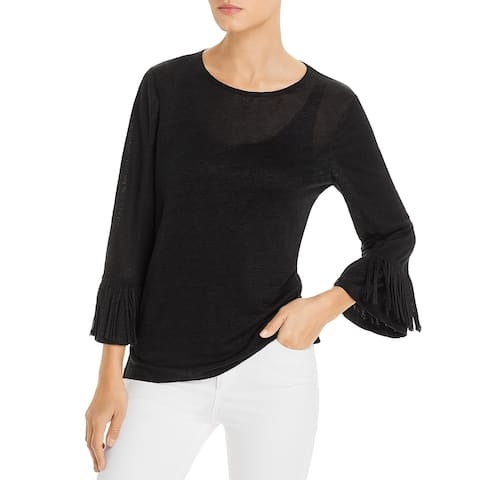 Kobi Halperin Womens Blouse Linen Fringed - FAA BLACK