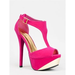 Qupid Count-09 High Heel Platform T-Strap Stiletto Peep Toe Pump - fuchsia velvet