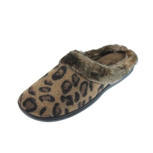 Isotoner Womens Clog Slippers Cheetah Faux Fur