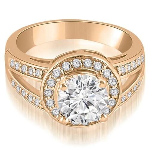 1.10 cttw. 14K Rose Gold Halo Round Cut Diamond Engagement Diamond Ring
