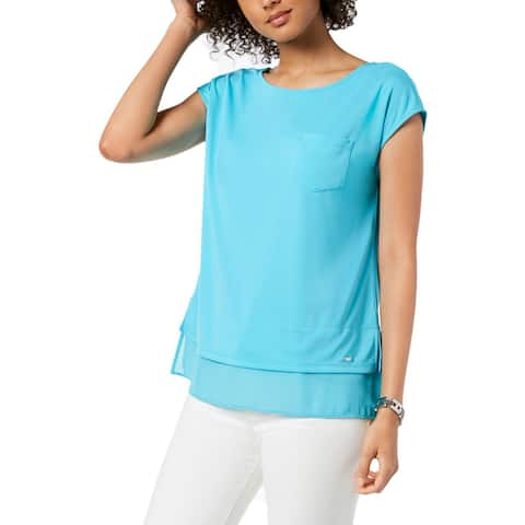 Tommy Hilfiger Womens Blouse Layered Cap Sleeve