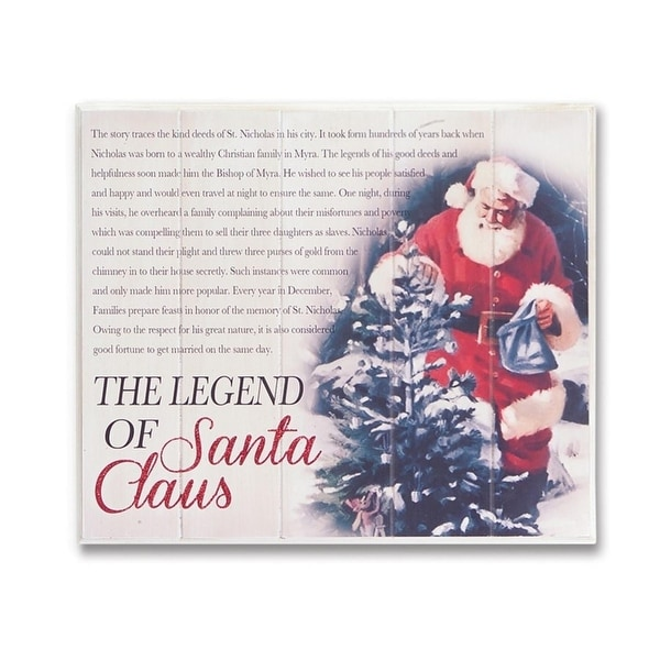 "13.5"" The Legend of Santa Claus Vintage Style Hanging Christmas Wall Plaque - RED"