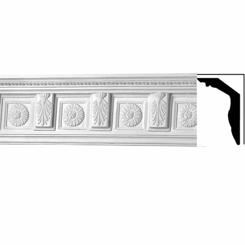 """Dazzling Ornate Cornice Crown Molding White Factory-primed Urethane 9"""" H Tyrese Renovators Supply"""