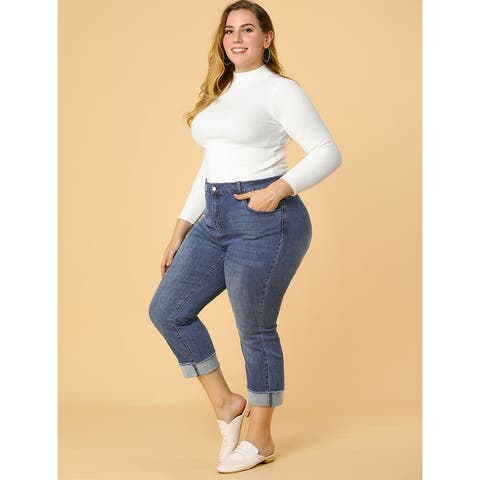 Women's Plus Size Jean Stretch Rolled Mid Rise Washed Skinny Jeans - Dark Blue