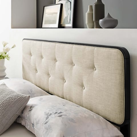 Collins Tufted Queen Fabric and Wood Headboard