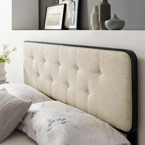 Collins Tufted Twin Fabric and Wood Headboard