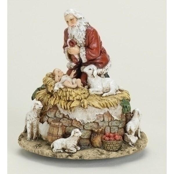 "6 ""Joseph's Studio Kneeling Santa with Jesus Musical Christmas Figure"