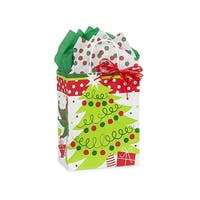 """Pack of 250, Cub Jolly Christmas Trees Paper Bags 8 x 4.75 x 10.25"""" For Christmas Packaging, 100% Recyclable,"""