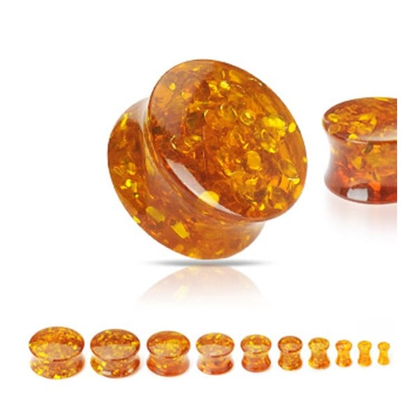 Solid Synthetic Amber Saddle Plug (Sold Individually)