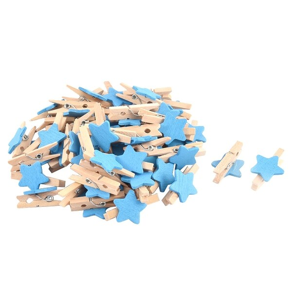 Unique Bargains Card Photo Paper Clothespin Pegs Star Crafts Mini Wooden Clip Blue 50pcs
