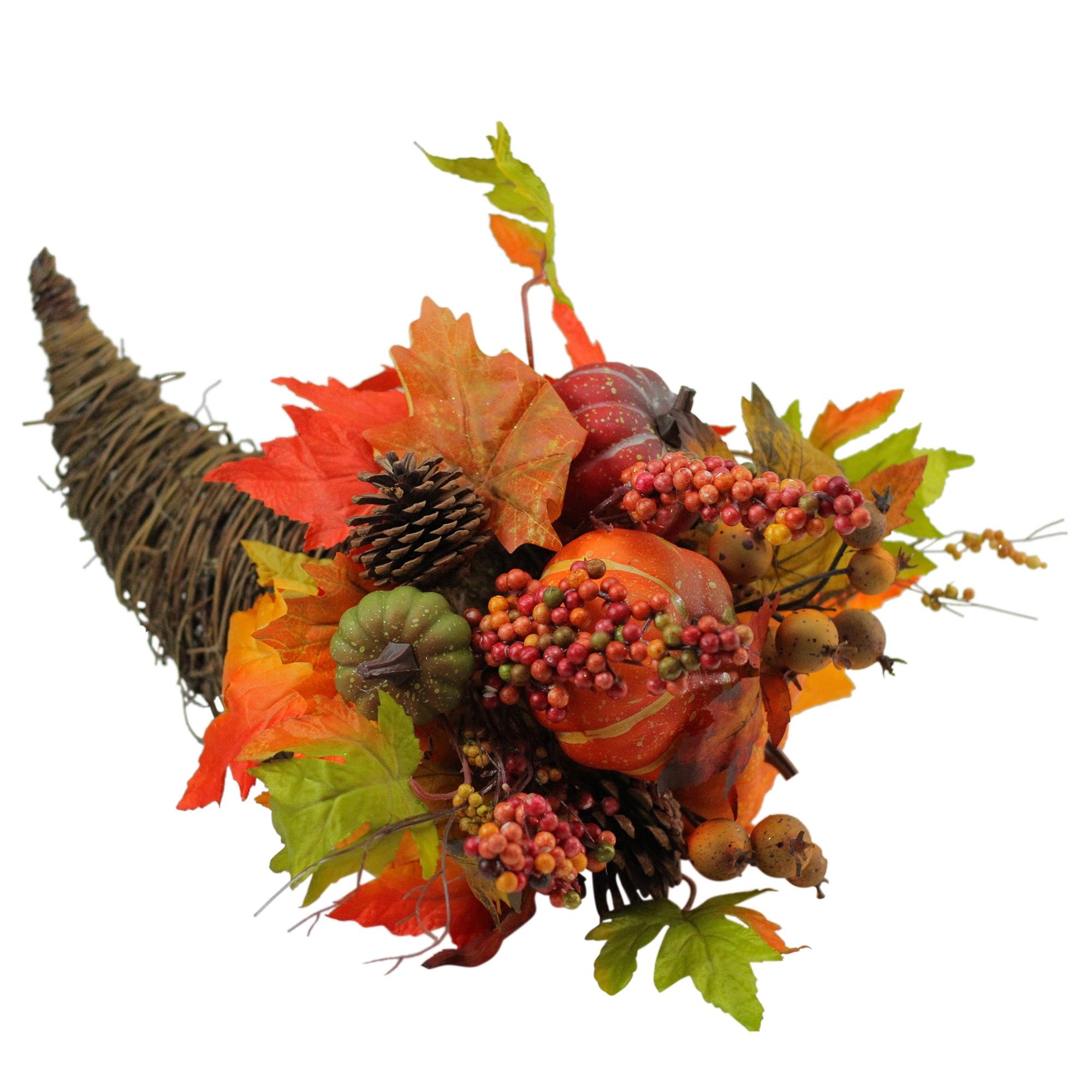 16 Autumn Harvest Gourds and Maple Leaf Cornucopia Thanksgiving Decoration - N/A